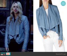 Rebekah's blue draped leather jacket on The Originals.  Outfit Details: http://wornontv.net/48892/ #TheOriginals