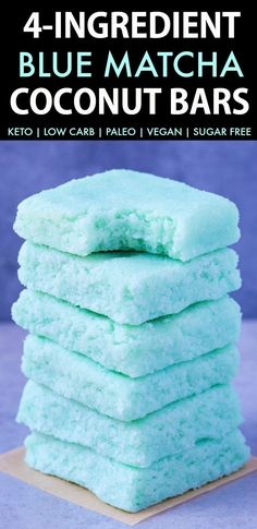 4-Ingredient Blue Matcha Bars (Keto, Paleo, Vegan, Sugar Free, Low Carb)- An easy recipe for mermaid inspired no bake coconut bars 100% Naturally colored- NO food dye! Sugar Free, dairy free and ready in under 5 minutes- the ultimate vegan ketogenic dessert! #ketosisrecipe #ketorecipe #mermaid #bluematcha | Recipe on thebigmansworld.com