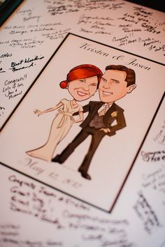 A fun alternative to the traditional wedding guest book. Wedding guests sign the poster at the reception. The special memory of your wedding day is beautiful for framing and display in your home. Guestbook poster by Devin Hunt www.illustratethedate.com (Photo credit: jwestwedding.com)