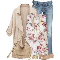 """""""Floral Print Top & Jeans"""" by immacherry on Polyvore"""