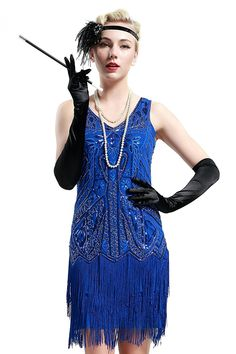 This gorgeous short dress features a v-neck and back. A hand beaded 1920's style flapper dress. This dress is perfect great gatsby party or any special occasion. Fabric : Polyester Sleeve Style : Sleeveless Length : Above Knee/Mini Colors : Beige, Black, Blue, Green, Red, Rose Red, White, Yellow Sizes : S, M, L, XL Fully Lined Soft Cup Inserts Occasion : Formal, Birthday, Great Gatsby Party