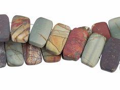 Dakota Stones Matte Red Creek Jasper 10x20mm Double Drill Bead Strand