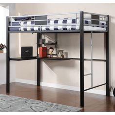 Furniture of America Blanchard Silver and Black Metal Full Size Loft Bed with Workstation - Overstock™ Shopping - Great Deals on Furniture of America Kids' Beds