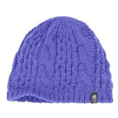 The North Face 'Minna' Cable Knit Beanie ($35) ❤ liked on Polyvore featuring accessories, hats, starry purple, cable hat, the north face, band hats, cable beanie and beanie hats