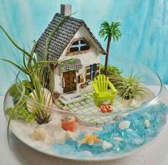 House Terrarium Kit ~ Beach House and Beach Chair ~ 3 Air plants ~ 10 quot; Glass Bowl ~ Beach Bucket and Flip Flops ~ Beach Decor ~ Gift Beach House Terrarium Kit Beach House and Beach Chair Flip, FLIP, or flips may refer to: Suculentas Diy, Cactus Y Suculentas, Air Plant Terrarium, Garden Terrarium, Terrarium Centerpiece, Beach Fairy Garden, Deco Zen, Beach Gardens, Fairy Gardens