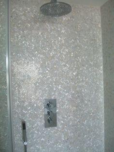 Genuine Mother of Pearl Oyster Herringbone Shell Mosaic Tile for Kitchen Backsplashes, Bathroom Walls, Spas, Pools by Vogue Tile
