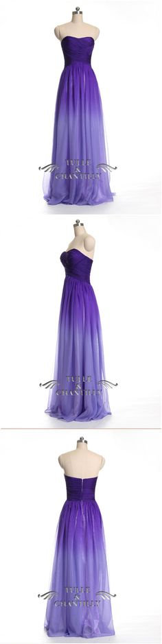 Sweetheart Neck Long Chiffon Purple Ombre  Prom Dress/Purple Ombre Bridesmaid Dress