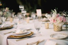 Sweetgrass Social wedding at Legare Waring House. Amanda & Matt. Rustic pink, white, and gold table scape.