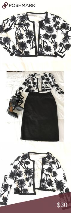 Black&White Palm Tree Blazer This Palm Tree Black & White Blazer is super cute and adds style to business wear. Pair with a cute pencil skirt and heels. Adds taste and makes great fashion statement. Never Worn. Jackets & Coats Blazers