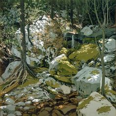 Neil Welliver, Anonymous Freshet, 1975, Oil on canvas, 72 x 72 inches, Collection of Mr. and Mrs. Graham Gund