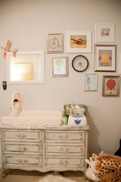 Gallery wall idea for nursery - eclectic prints. Maybe if you know 10 years down the road we have another baby.