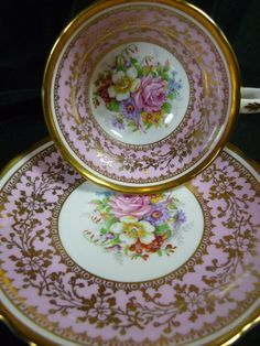 GROSVENOR CABINET TEA CUP AND SAUCER WIDE PINK BAND FLORAL BOUQUET LUSH GILT | eBay