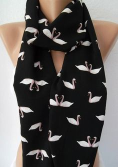 Swan Lake  COTTON  Tube Scarf Infinity ScarfLoop by womann on Etsy, $19.00