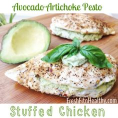 Avocado Artichoke Stuffed Chicken | Delish way to get protein and good for you fats! 27 grams protein in a 213 calorie serving!