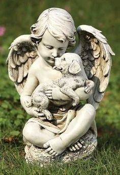 This delightful little cherub sits upon a stone and cuddles his buddy. With a mix of resin and stone this garden statue adds a touch sweet serenity to your yard