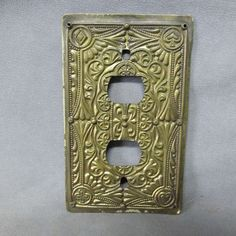 Antique Victorian Brass Switch Plate Plaque Playing by Neatcurios