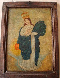 """Retablo """"Inmaculada Concepción"""" Colonial Venezolano, siglo XVIII. Óleo sobre tabla.Medidas: 38X28 cms."""