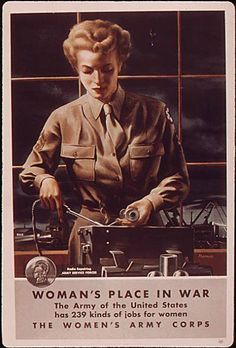 Recruiting for the Women's Army Corps, radio repairing in the Army Special Forces. WWII poster