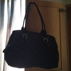 Fossil Purse with F logo. Black with tan logos. Three separate compartments on the inside. Fossil Bags Shoulder Bags