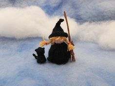 """Little witch girl and her cat. Designed by Knits by Sachi. """"This is the pattern to make a little girl and her cat. The girl is about tall with her tiny cat, tall."""" Free Pattern More Patterns Like This! Halloween Cups, Halloween Treat Bags, Cute Halloween, Cat Pattern, Free Pattern, Dishcloth Knitting Patterns, Free Knitting, Knit Patterns, Halloween Knitting Patterns"""