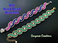 Wavy Seed Beads Bracelet || DIY Beaded Bracelet || How to make Beaded Bracelet - YouTube Seed Bead Bracelets Diy, Making Bracelets With Beads, Beaded Bracelets Tutorial, Beaded Bracelet Patterns, Beading Patterns, Jewelry Bracelets, Jewelry Making, Jewellery, Bead Embroidery Tutorial
