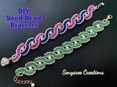 Wavy Seed Beads Bracelet || DIY Beaded Bracelet || How to make Beaded Bracelet - YouTube Seed Bead Bracelets Diy, Making Bracelets With Beads, Beaded Bracelets Tutorial, Beaded Cuff Bracelet, Beaded Bracelet Patterns, Beading Patterns Free, Beaded Jewelry Designs, Bead Jewellery, Bead Embroidery Tutorial
