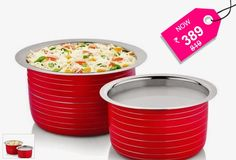 Cookaid Red Induction Friendly 2 Pcs Patila Set + Free Delivery - SAVE 53%.. Rs.389 instead of Rs.819 for a Beautiful Designer Patilas from Cookaid! for Perfect Kitchen.