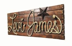 LEVI JAMES: 42 Rope Name Sign Western Country by RopeAndStyle
