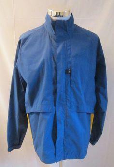 Men's Nike Blue L/S Full Zip and Button Windbreaker/Jacket Multi-Pocket Size M #Nike #Windbreaker