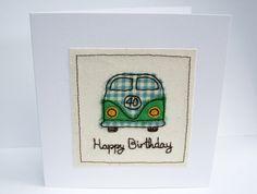 VW Camper Birthday Card - Machine Embroidered- Campervan, Camping, Birthday Card…
