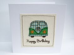 VW Camper Birthday Card - Machine Embroidered- Campervan, Camping, Birthday Card…