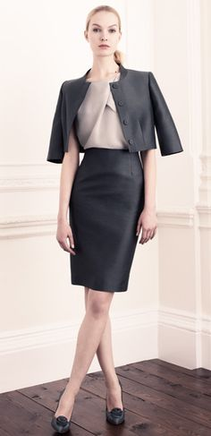 Hobbs pencil skirt and jacket.  Sleek architecture in fabric.