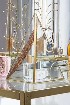 Gold Pyramid Glass Cloche for perfume storage