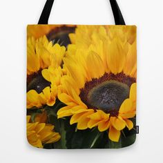 Golden Sunflowers Tote Bag by Spice - $22.00