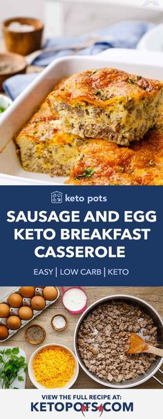 5-Ingredient Sausage and Egg Keto Breakfast Casserole (Easy Recipe) - Keto Pots<br> Overnight Breakfast Casserole, Breakfast Casserole Sausage, Breakfast Skillet, Keto Casserole, Casserole Dishes, Casserole Recipes, Keto Recipes, Healthy Recipes, Keto Foods