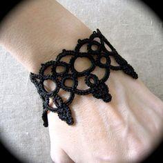 Tatted Lace Cuff Bracelet  Art Nouveau Mucha by TotusMel on Etsy