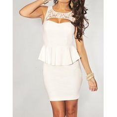 Sexy Style Open Back Solid Color Ruffles Lace Splicing Sleeveless Women's Sexy Dress, WHITE, M in Sexy Dresses | DressLily.com