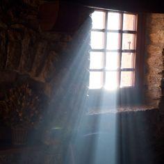 Sunlight streaming through the window.