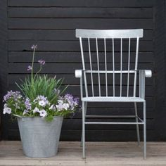 Terrain Zinc Shaker Chair #shopterrain Based on a classic Shaker design, this garden chair has a resilient zinc finish that will welcome generations of garden visitors.