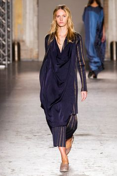 Like the mix of silk and heavier pinstriped fabric, and colours; interesting suit with long silk tunic & flats - Uma Wang at Milan Fashion Week Spring 2015
