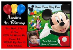 Mickey Mouse Birthday Party Baby First St Clubhouse Red Mickey - Mickey mouse 1st birthday invitations template
