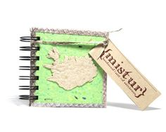 Handmade, small notebook made of recycled paper and salmon fish skin. Great as a souvenir from Iceland
