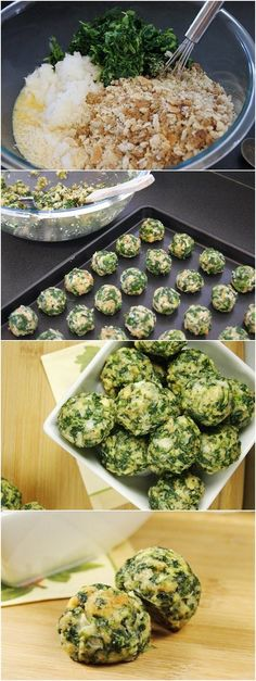 ) pkg frozen spinach, thawed & drained 2 small onions, very finely chopped 2 stuffing with herbs 6 eggs, beaten melted butter Parm garlic salt black pepper Baking sheet. Bake at 350 for 20 minutes ) packages frozen spinach, thawed & well-drained 2 small o I Love Food, Good Food, Yummy Food, Tasty, Vegetarian Recipes, Cooking Recipes, Healthy Recipes, Easy Recipes, Spinach Balls