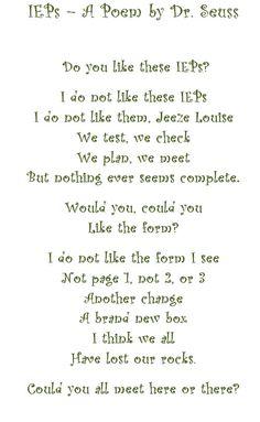 An IEP Dr. Seuss Poem