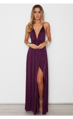 Sexy A-Line V Neck Spaghetti Straps Criss Cross Back Wine Chiffon Long Prom Dresses with Side Split,Formal Party Dresses Bridesmaid Dresses Info Cute Summer Dresses, Dress Formal, Plum Prom Dresses, Long Purple Dress, Purple Dress Outfits, Chiffon Dresses, Bridesmaid Gowns, Black Outfits, Evening Dresses