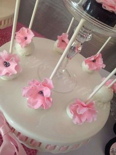 Beautiful floral cake pops at a Minnie Mouse party! See more party ideas at CatchMyParty.com!