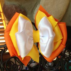 Candy Corn Inspired Halloween Hair Bow