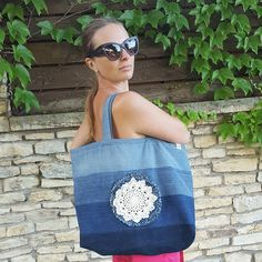 My new recycle jeans bag (4 old jeans) with crochet decor. I like it😎 I can make one more bag like this😉 please contact me ✉ . . . #sewing…