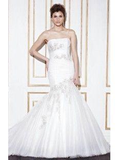 Strapless Chapel Train Tulle Trumpet Mermaid Wedding Dress