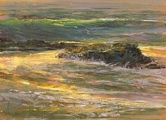 Enjoy a moment of calm at the ocean in Dellinger's seascape painting. Ocean Paintings, Nature Paintings, Art Paintings, Landscape Paintings, Artist And Craftsman, See The Sun, Best Artist, Pacific Ocean, Pastels